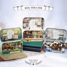 Funny Cuteroom Old Times Trilogy Wooden DIY Handmade Box Theatre Dollhouse Miniature Tin Box With LED Decor Gift For Children