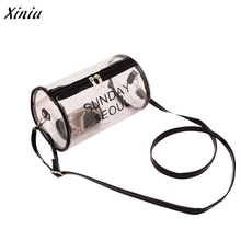 2017 Fashion Designer Handbag Women Transparent Plastic Crossbody Shoulder Bags Messenger Phone Bag Letter Print bolsa feminina(China)