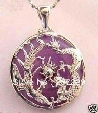 Wholesale price FREE SHIPPING ^^^^5pcs Nice violet stone dragon phoenix pendant necklace(China)