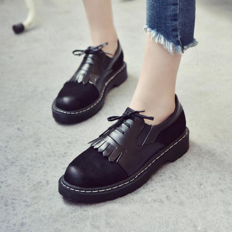 British Style Oxford Shoes For Women Vintage Brogue Leather Shoes Fashionable Tassel Woman Shoes Casual Flats Platform Creepers<br><br>Aliexpress