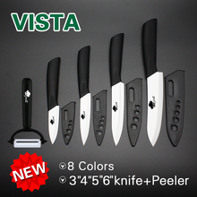 "Ceramic Knives Multi-color Handle Kitchen knife 3"" 4"" 5"" 6"" kitchen knives cooking set+peeler white zirconia blade with sheath(China)"