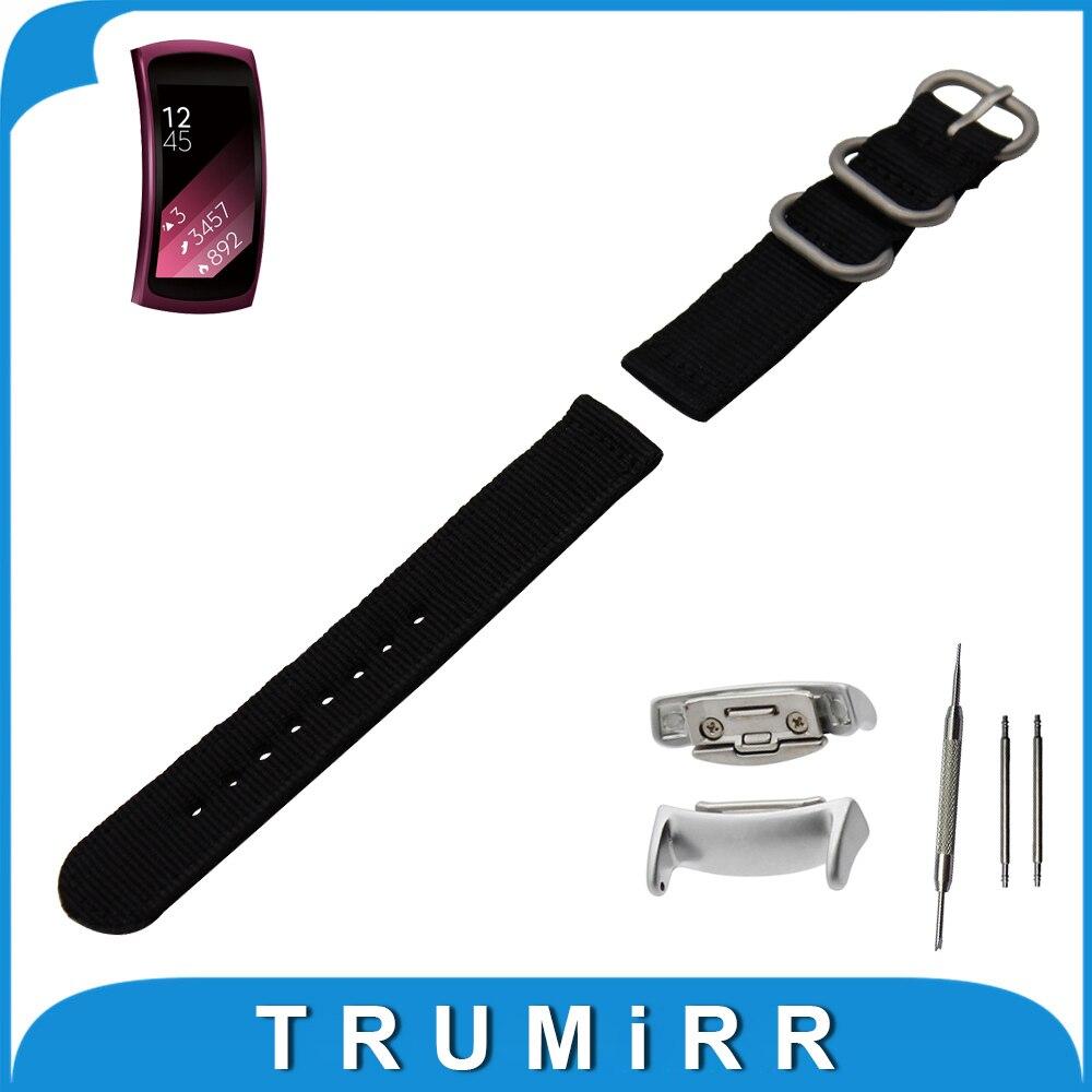 18mm Nylon Watch Band + Adapters for Samsung Gear Fit 2 SM-R360 Zulu Fabric Strap Wrist Belt Bracelet Black Gray Brown Blue<br><br>Aliexpress