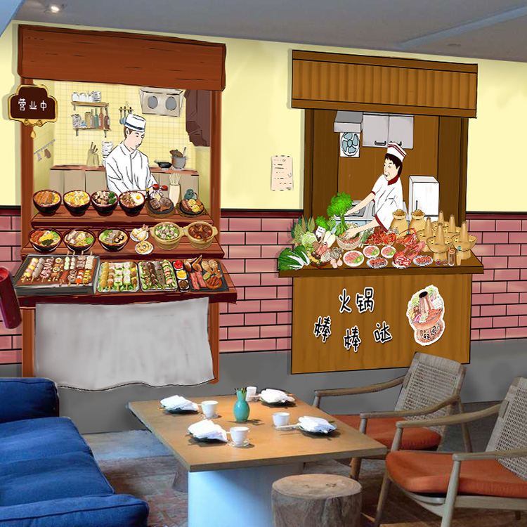 Free Shipping traditional large mural mall Restaurant Burger Shop Hot pot wallpaper<br><br>Aliexpress