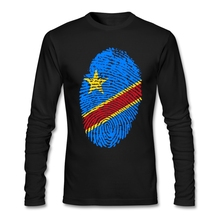 Custom Congo Flag Fingerprint Tshirt Men Birthday Gift Men's Custom Long Sleeve Autumn Cotton Plus Size Primer T Shirts