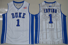 WINGISAM #1 Kyrie Irving Duke Blue Devils Retro Throwback Basketball Jersey All Stitched Embroidery Jersey Drop Shipping