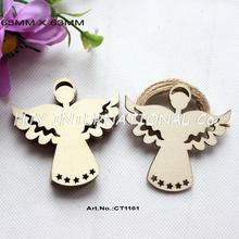 "(50pcs/lot) 63mmBlank Natural Wooden Angel Tags Christmas Ornaments Free Strings 2.5""-CT1161"