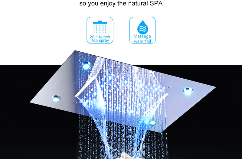 Ceiling Mount Square Fixed Rainfall Shower Head with 3 Way Thermostat Bathroom Shower Faucet Chrome Handheld Shower System (5)