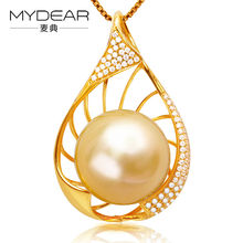 MYDEAR Fine Pearl Jewelry Natural 13-14mm Golden Southsea Pearls Pendants Mounting Necklaces Real Gold Charms For Jewelry Making(China)