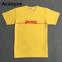 2016 Summer New Brand Paris Fashion Vetements Air Transport DHL T Shirts Women Men Short Sleeve Cotton Tops Letter Yellow Tee