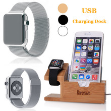 Original Watch Band+Charger Cable+USB Bamboo Charging Dock Station Phone Holder For Apple Watch i Watch 8 7 6S SE +/S8 S5 Neo P(China)