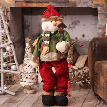 Christmas Dolls Standing Santa Claus Figurine Big Size Retractable Christmas Toys For Kids Christmas Gift Toys Xmas Decoration