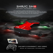 HR SH6 with 2MP Wifi FPV Camera Foldable RC Drone One Key Auto Returned Altitude Hold 2.4G 4CH RC Quadcopter VS H37 E50 E50S T37(China)