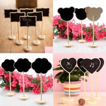 6Pcs/lot Mini Wood Chalkboard Blackboard Wooden Place Card Holder Table Number for Wedding Decoration Event Party Supplies