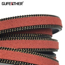 GUFEATHER P43/10MM Chain & leather cord smooth and suede side/jewelry accessories/chain/rope/jewelry findings/cabochon(China)