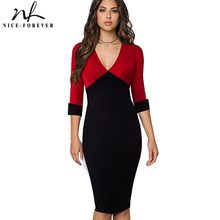 Nice-forever Vintage Elegant Solid Turn-down 3 4 Sleeve Wear to Work  vestidos Sexy V-Neck Bodycon Women Office Dress B357 e49524d4265e