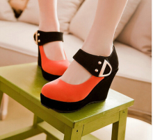 2016 New Fashion Wedges shoes woman High Heel platform shoes large