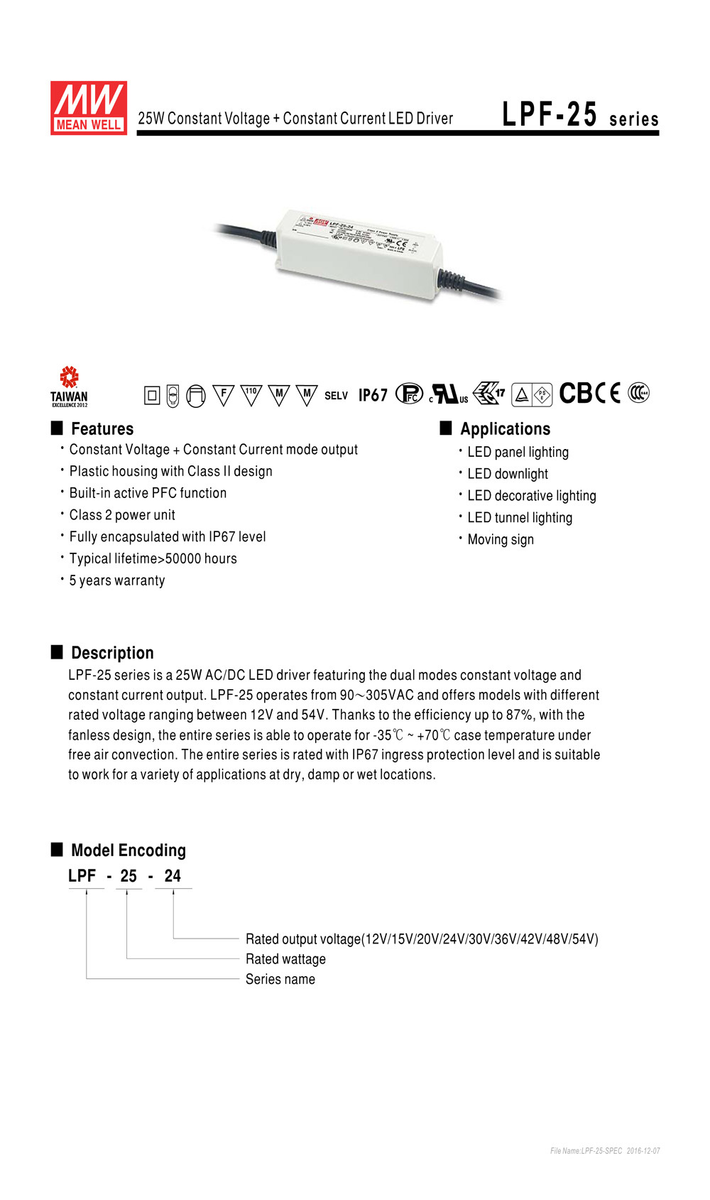 MW Mean Well LPF-25D-30 30V 0.84A 25.2W Single Output Switching with PFC LED Power Supply