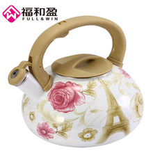 Water Kettle 3.2L Enamel Flower&Tower Teapot Kettle Used On Electromagnetic Stove/Gas Range/Electronic Tube Heater Kitchen(China)