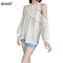 Buy Rugod Women Blusas Shirts 2017 Summer Fashion Cold Shoulder Chiffon Blouse Ladies Apricot Puff Sleeve Halter Tops Women Clothing for $13.65 in AliExpress store