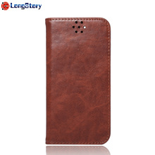 Folio Flip Corrected Grain Brown Leather Case for iPhone 7 7 Plus Stand Feature Card Slot Holder Cover