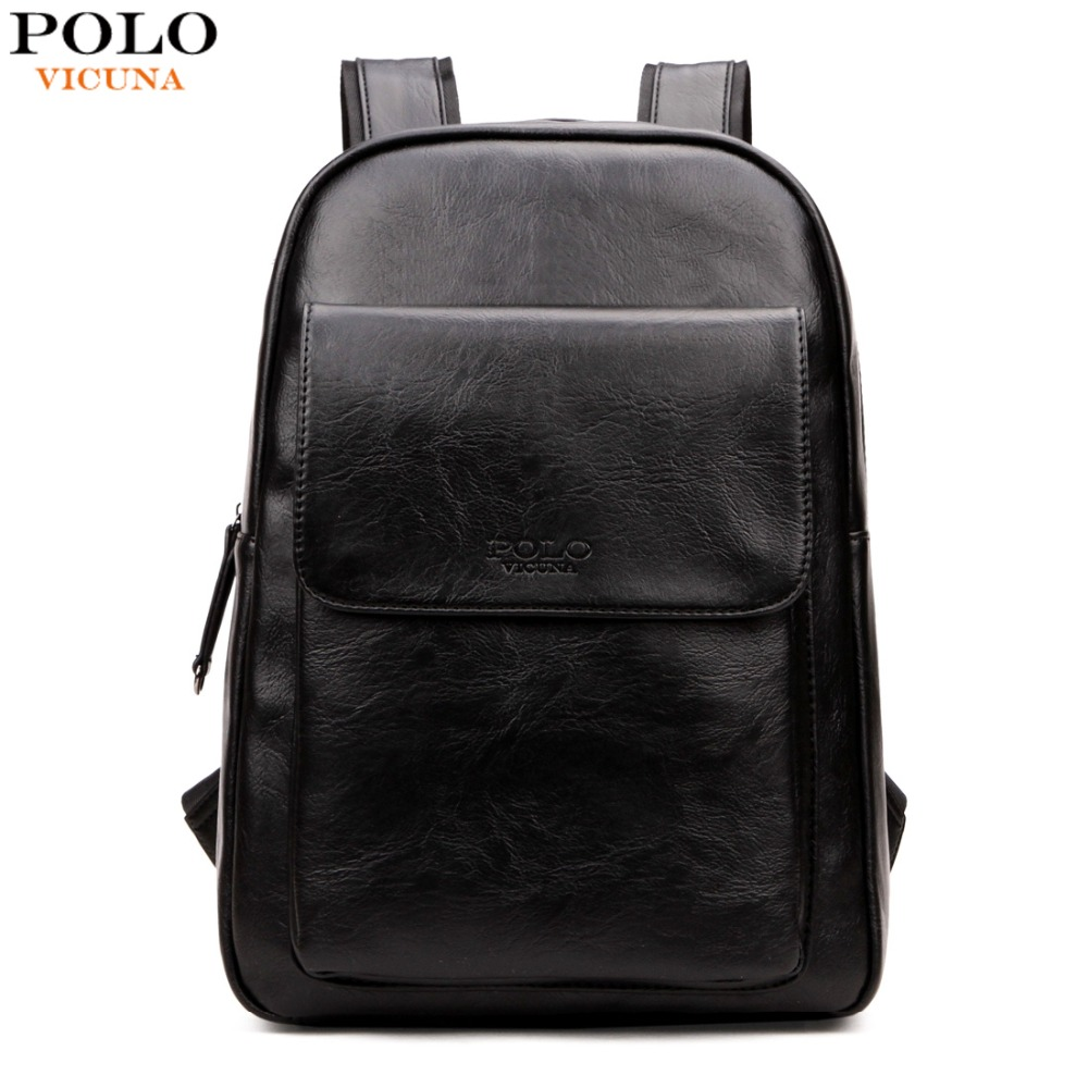 VICUNA POLO Japan &amp; Korean Style PU Leather Backpack For Men Brand New Student Back Pack For School Casual Large Mens mochilas<br>