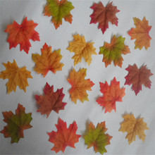 50pcs Fall Silk Leaves Wedding Favor Autumn Maple Leaf For Art Scrapbooking Wedding Bedroom Wall Party Decor Craft
