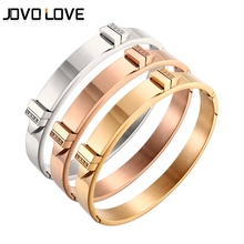 2017 New CZ Rhinestone Bracelets Rose Gold /Gold/ Stainless Steel Bangle Bracelet for women Punk Style Cuff Bangle Jewelry