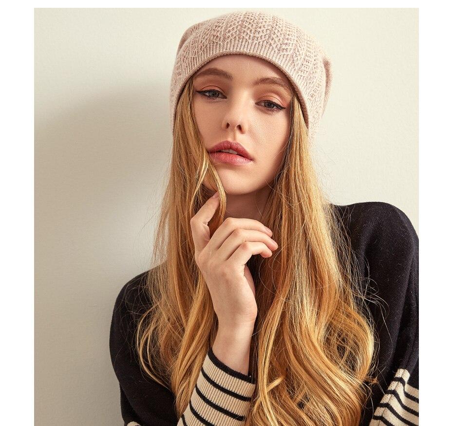 قبعة صوف محبوكة للنساء 16