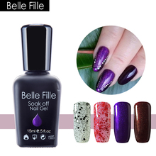 BELLE FILLE UV Gel Nail Polish Lilac Purple Color Coat UV Soak Off Rose Purple Lilac Gel Nail Polish Bling Glitter Gels Art(China)