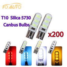 Auto led t10 194 168 W5W canbus 6 smd  5730 200pcs Super Bright car Silica bulbs light bulb lamp  White Yello Red Ice blue 12v