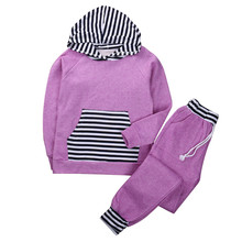 2016 New Spring patchwork design Family style Family Matching Outfits Striped  hoodies Pant Set