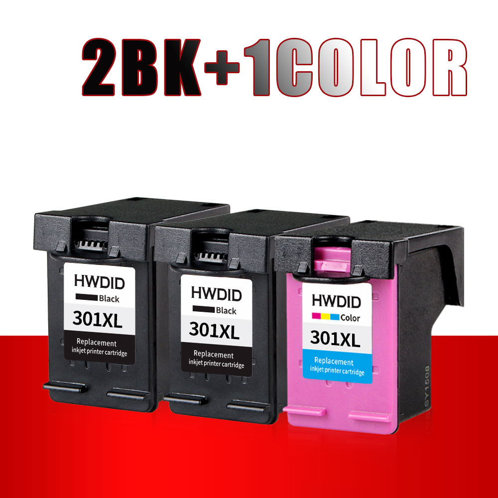 2BK+1Color Ink Cartridge For HP 301XL 301 CH561EE CH562EE CH563EE CH564EE use for hp Deskjet 1000 1050 2000 2050 2510 Envy 5530 <br>