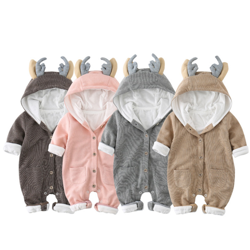 Christmas Baby Clothes Deer Hooded Baby Girls Boys Romper Knitted Cotton Newborn Baby Overalls Jumpsuit Toddler Baby Boy Clothes<br>