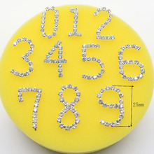 10pcs DIY crystal number 0-9 metal stickers/ car decorative Rhinestone Silver digital bag/ shoes rhinestone ornament accessories(China)