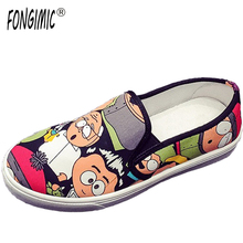 Buy New Style Sweet Looking Women Fashion Shoes Cartoon Animation Female Loafers Canvas Two Colors Casual Wear Comfortable Flats for $15.19 in AliExpress store