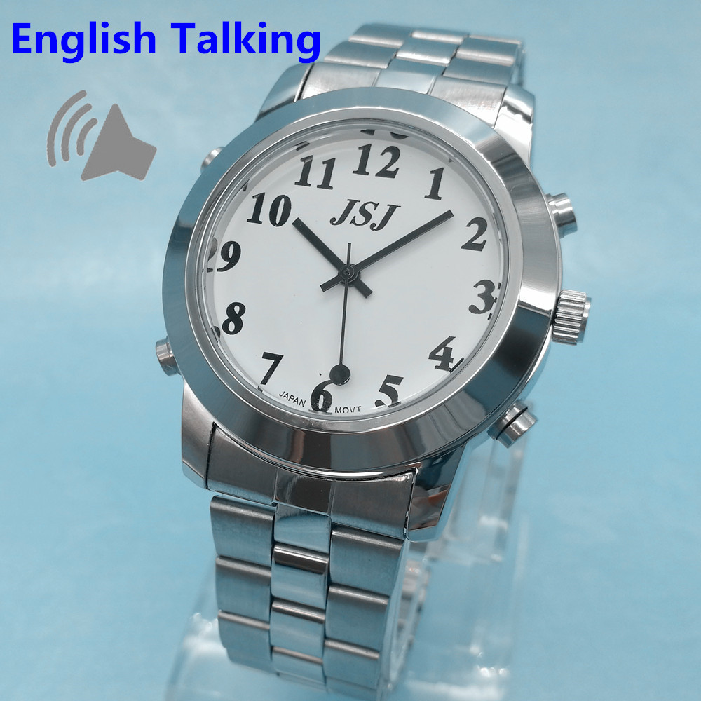 English Talking Watch for Blind People or Visually Impaired People or The Elderly with Alarm Of Quartz White Dial Black Numbers<br>