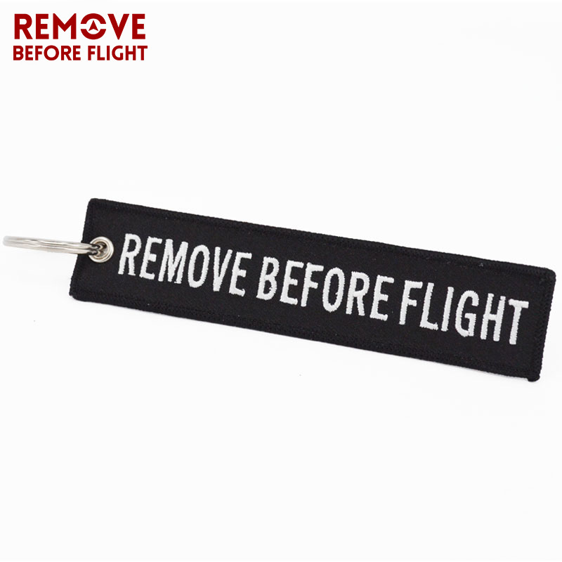 REMOVE BEFORE FLIGHT Keyings Special Luggage Tag Label Black Embroidery Key Ring Chain Aviation Gifts OEM Keychain Key Fobs Easy Reach key fob