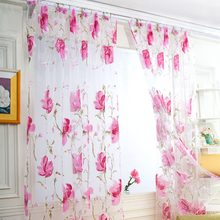 1x2M Tulle Curtains For Living Room Tulip Flower Sheer Curtain Pastoral Curtains for The Living Room Tulle Curtain Pink(China)