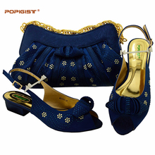 Short Heels 3.5cm For Elder Women Italian Design Wedding Shoes And Bag Set To Matching Popular In African Women Sandal Pump Shoe(China)