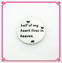 Hot selling stainless steel 16mm silver half of my heart lives in heaven window plates fit for 25mm floating locket