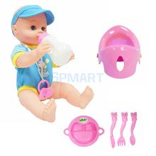 Realistic Silicone Baby Doll Vinyl Lifelike Drink Potty Baby Boy in Blue