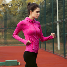 Novel ideas ports Clothes for Women Gym Fitness Long-sleeve Running Jacket Hooded Zipper Jersey Yoga Shirt Size form S-L Six co(China)