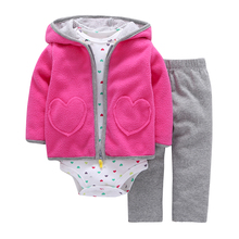 New Brand 3 Pieces Sets Fashion  2017 Baby Boy Girl's Style Regualr Full Sleeve Heart Hooded Coat+O-Neck One Piece Romper+ Pants