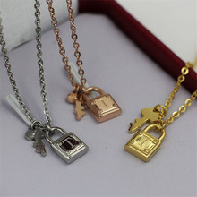 2017 New Rose Gold Color Stainless Steel Brand Key Tif Necklace Women Jewelry T Necklace Pendant Necklaces bijoux femme 16011292(China)