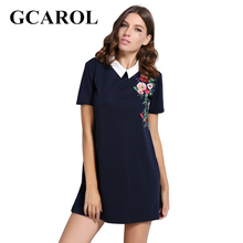 Buy GCAROL 2017 Women Euro Style Floral Embroidery Dress Peter Collar Design High Stretch Mini Vintage Dress Ladies for $13.98 in AliExpress store