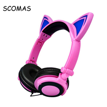 SCOMAS 3.5mm Foldable Headset for Phone Glowing Headphones for Children Girls Cartoon Headfone Head Phones for Mp3 Player Music(China)