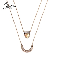 JOOLIM Jewelry Wholesale/  New Quality Double Layers Pendant Necklace Jewelry Factory  free shipping