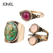 Kinel Unique Retro 3Pcs/lot Midi Ring Set Fashion Ancient Gold Dream Colorful  Rings For Women Turkish Jewelry Gifts