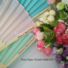 200pcs Wedding Favors Gift Personalized Silk Fan Wedding Fabric Hand Folding Fan+Customized Printing Name & Date & Text(China)