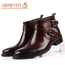 GRIMENTIN men boots genuine leather double buckle black brown male ankle boots shoes(China)